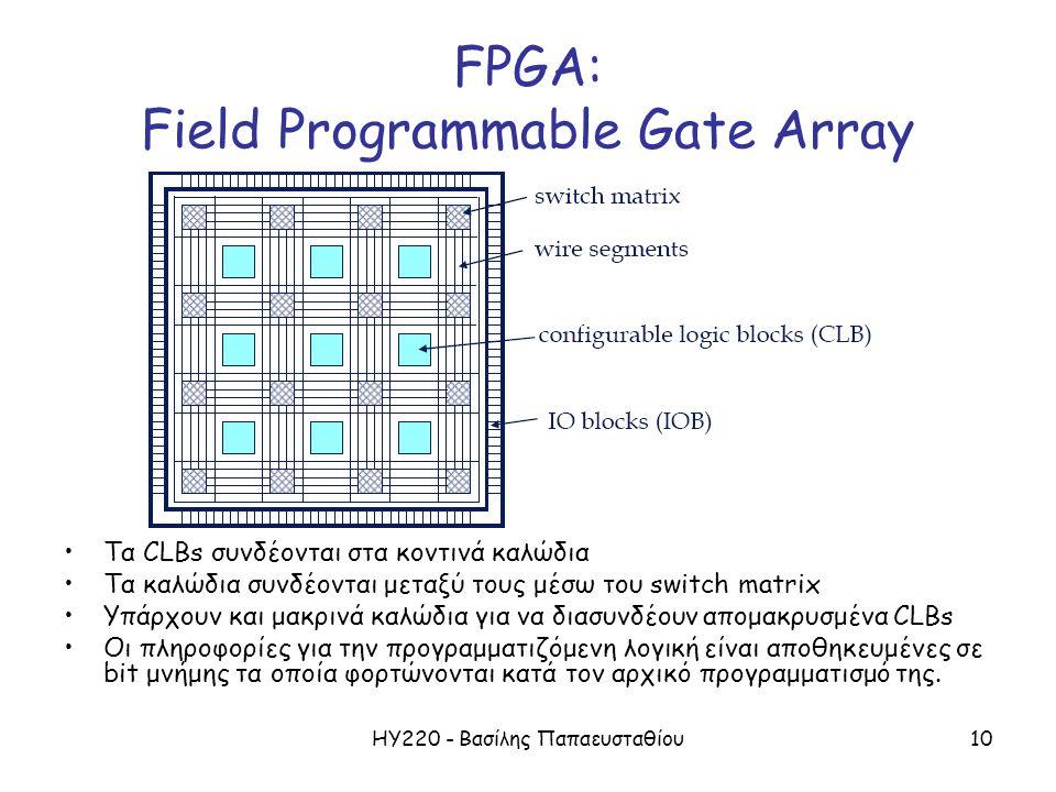 ΗΥ220 - Βασίλης Παπαευσταθίου10 FPGA: Field Programmable Gate Array Τα CLBs συνδέονται στα κοντινά καλώδια Τα καλώδια συνδέονται μεταξύ τους μέσω του switch matrix Υπάρχουν και μακρινά καλώδια για να διασυνδέουν απομακρυσμένα CLBs Οι πληροφορίες για την προγραμματιζόμενη λογική είναι αποθηκευμένες σε bit μνήμης τα οποία φορτώνονται κατά τον αρχικό προγραμματισμό της.