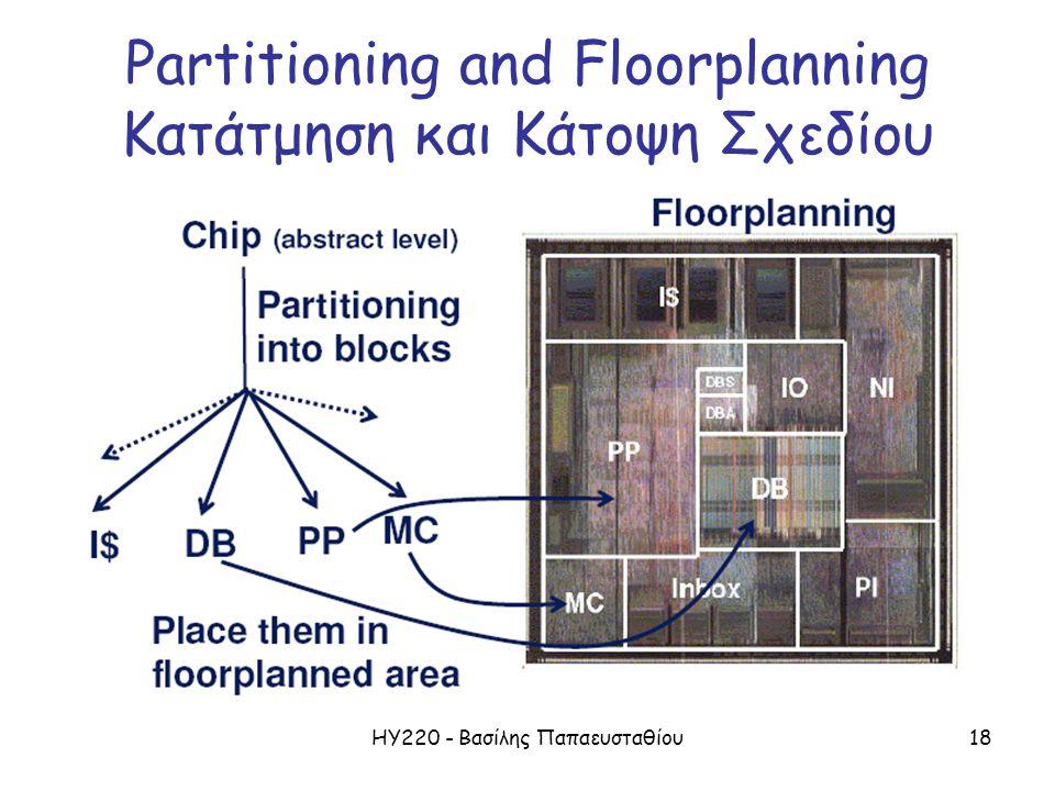 ΗΥ220 - Βασίλης Παπαευσταθίου18 Partitioning and Floorplanning Κατάτμηση και Κάτοψη Σχεδίου