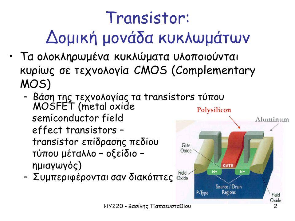 ΗΥ220 - Βασίλης Παπαευσταθίου2 Transistor: Δομική μονάδα κυκλωμάτων Τα ολοκληρωμένα κυκλώματα υλοποιούνται κυρίως σε τεχνολογία CMOS (Complementary MOS) –Βάση της τεχνολογίας τα transistors τύπου MOSFET (metal oxide semiconductor field effect transistors – transistor επίδρασης πεδίου τύπου μέταλλο – οξείδιο – ημιαγωγός) –Συμπεριφέρονται σαν διακόπτες