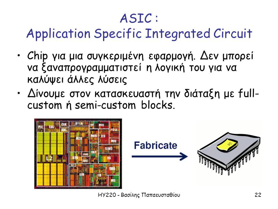 ΗΥ220 - Βασίλης Παπαευσταθίου22 ASIC : Application Specific Integrated Circuit Chip για μια συγκεριμένη εφαρμογή.