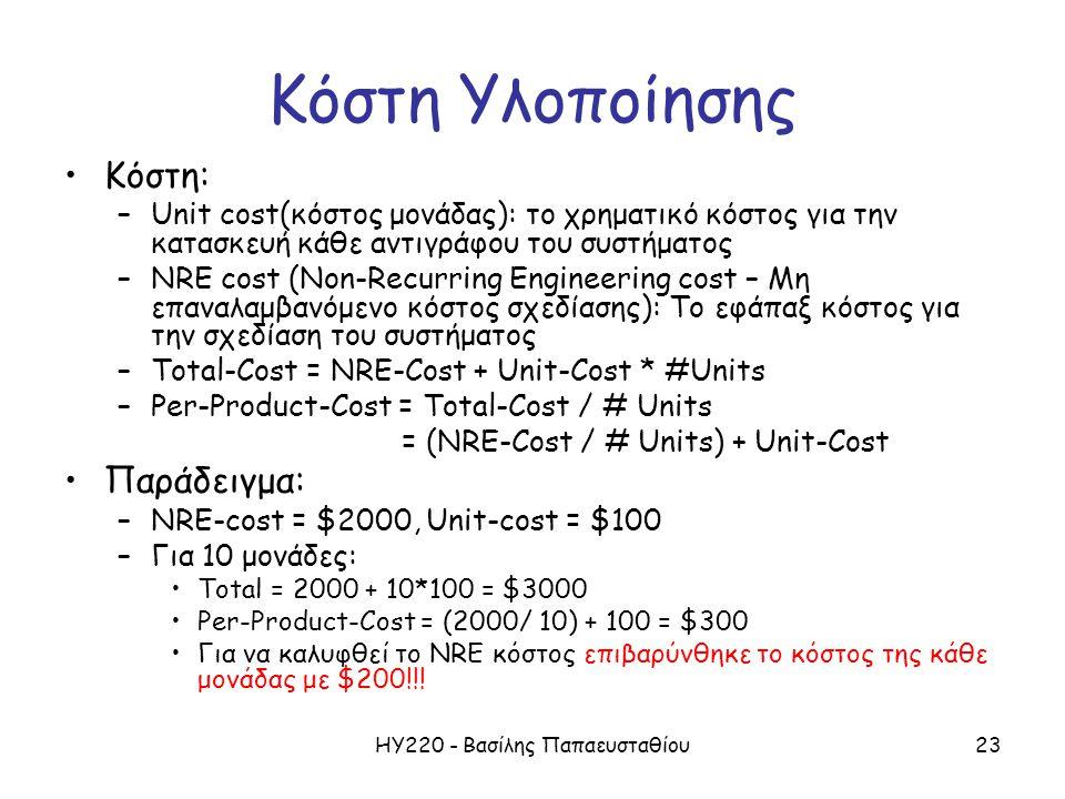 ΗΥ220 - Βασίλης Παπαευσταθίου23 Κόστη Υλοποίησης Κόστη: –Unit cost(κόστος μονάδας): το χρηματικό κόστος για την κατασκευή κάθε αντιγράφου του συστήματος –NRE cost (Non-Recurring Engineering cost – Μη επαναλαμβανόμενο κόστος σχεδίασης): Το εφάπαξ κόστος για την σχεδίαση του συστήματος –Total-Cost = NRE-Cost + Unit-Cost * #Units –Per-Product-Cost = Total-Cost / # Units = (NRE-Cost / # Units) + Unit-Cost Παράδειγμα: –NRE-cost = $2000, Unit-cost = $100 –Για 10 μονάδες: Total = 2000 + 10*100 = $3000 Per-Product-Cost = (2000/ 10) + 100 = $300 Για να καλυφθεί το NRE κόστος επιβαρύνθηκε το κόστος της κάθε μονάδας με $200!!!