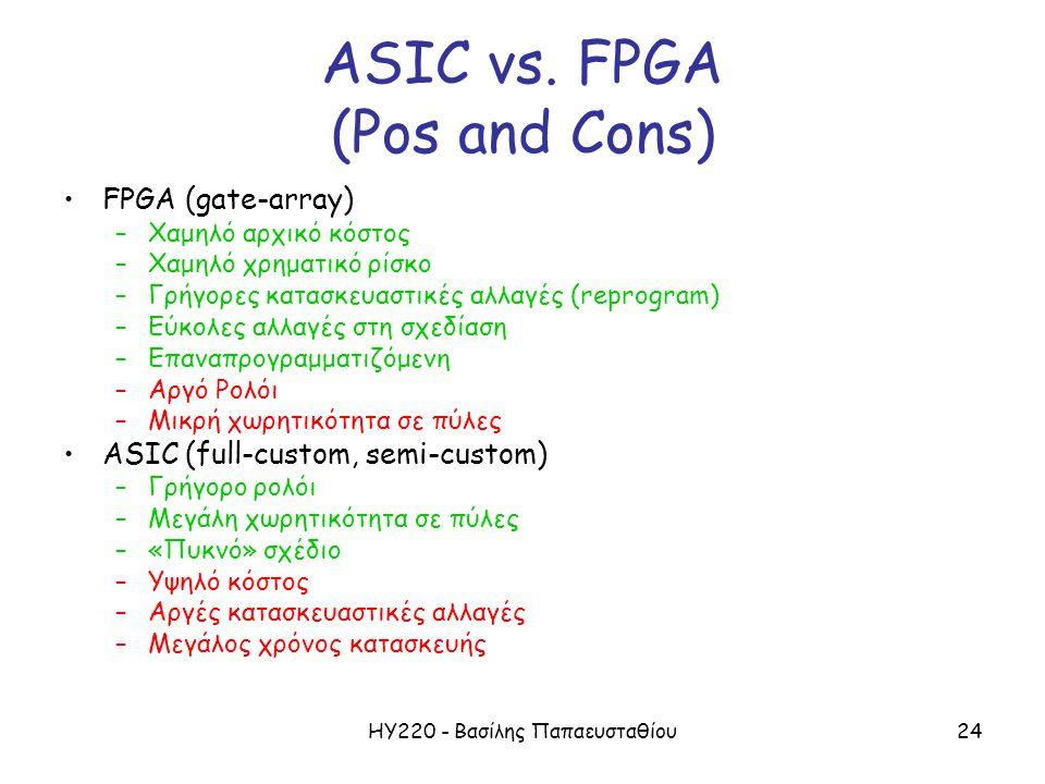 ΗΥ220 - Βασίλης Παπαευσταθίου24 ASIC vs.