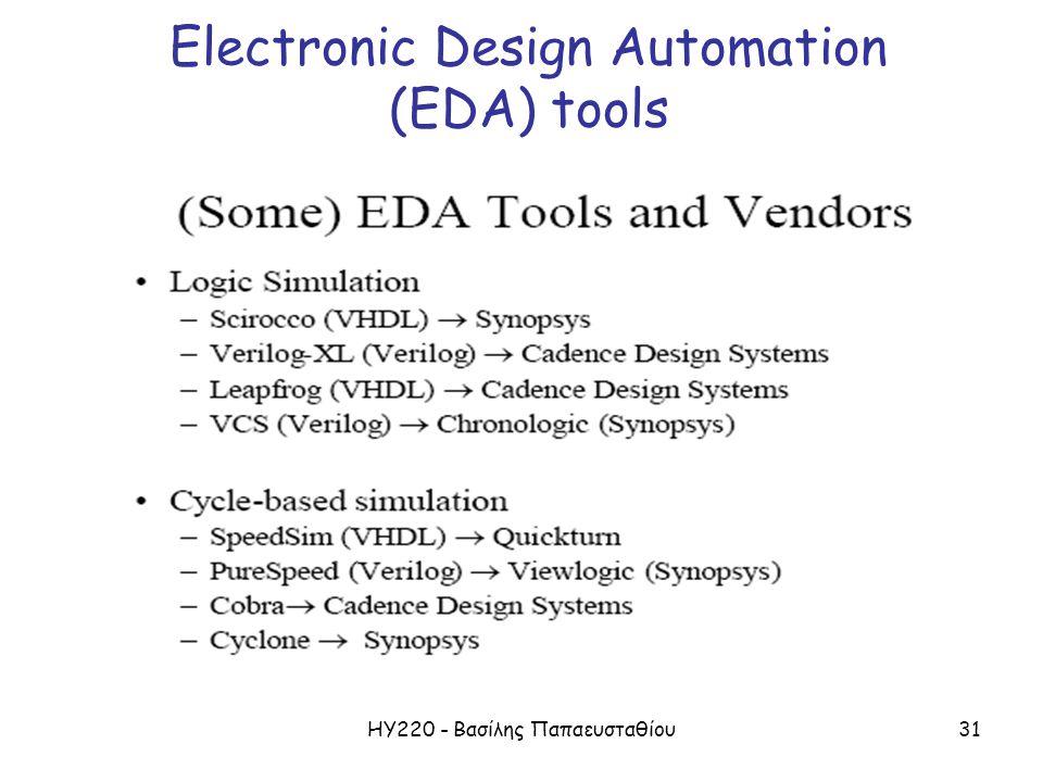 ΗΥ220 - Βασίλης Παπαευσταθίου31 Electronic Design Automation (EDA) tools