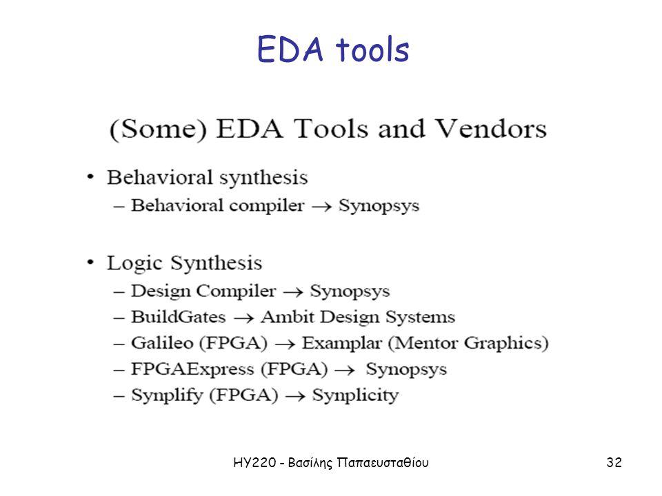 ΗΥ220 - Βασίλης Παπαευσταθίου32 EDA tools