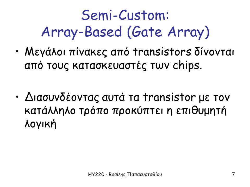 ΗΥ220 - Βασίλης Παπαευσταθίου7 Semi-Custom: Array-Based (Gate Array) Μεγάλοι πίνακες από transistors δίνονται από τους κατασκευαστές των chips.