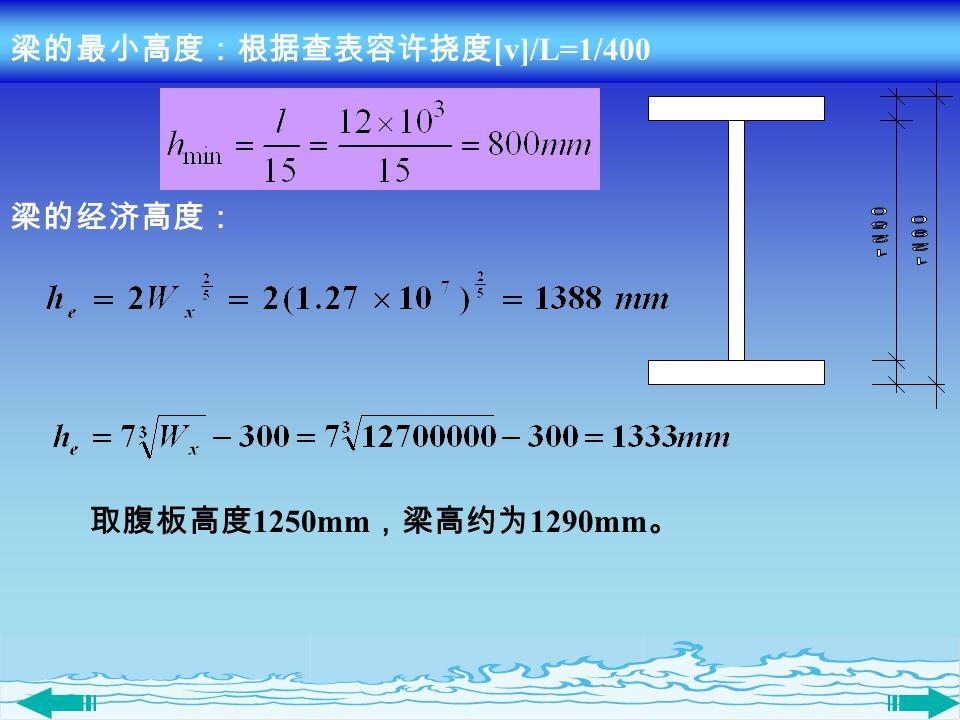 梁的最小高度:根据查表容许挠度 [v]/L=1/400 梁的经济高度: 取腹板高度 1250mm ,梁高约为 1290mm 。