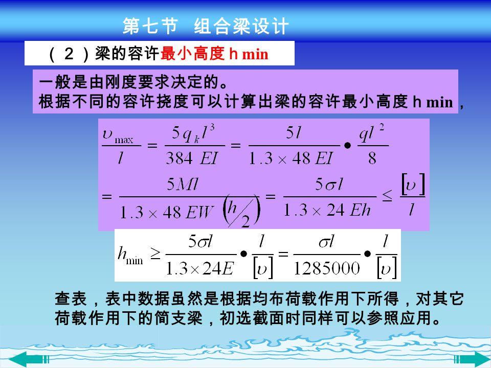 (2)梁的容许最小高度h min 一般是由刚度要求决定的。 根据不同的容许挠度可以计算出梁的容许最小高度h min , 查表,表中数据虽然是根据均布荷载作用下所得,对其它 荷载作用下的简支梁,初选截面时同样可以参照应用。 第七节 组合梁设计