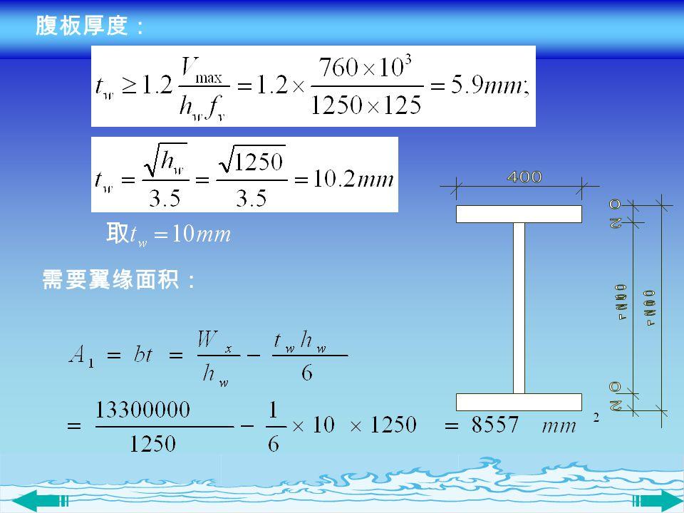 腹板厚度: 需要翼缘面积: