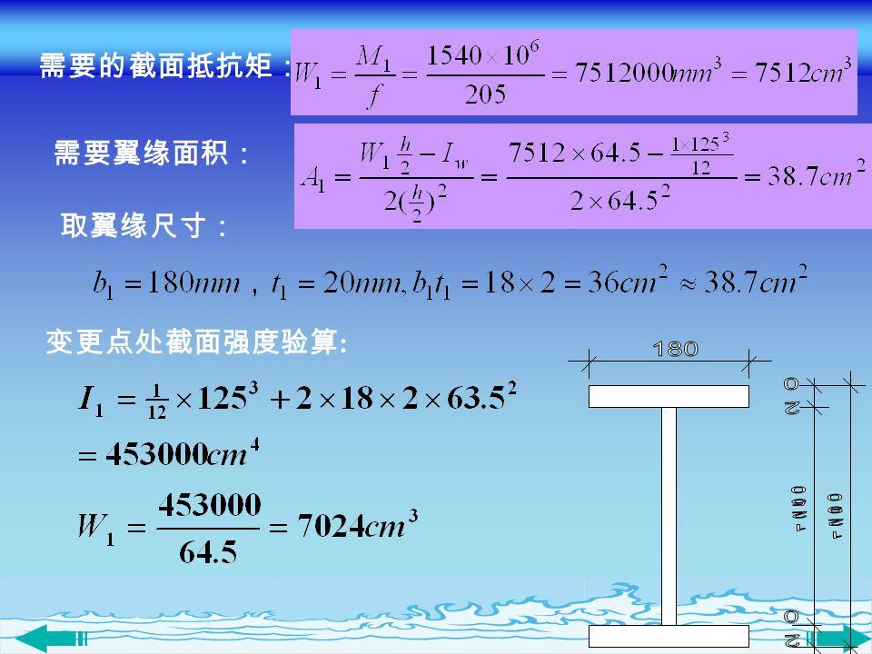 变更点处截面强度验算 : 需要的截面抵抗矩: 需要翼缘面积: 取翼缘尺寸: