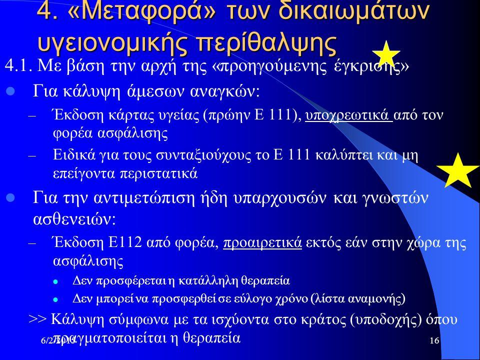 6/2/201516 4. «Μεταφορά» των δικαιωμάτων υγειονομικής περίθαλψης 4.1.