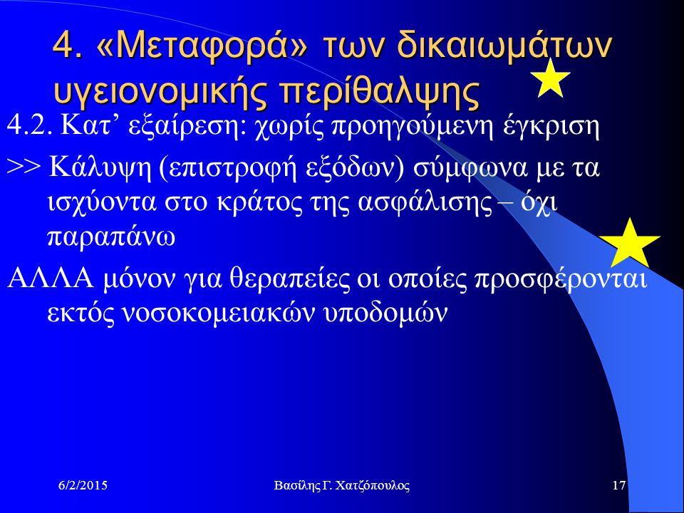 6/2/2015Βασίλης Γ.Χατζόπουλος17 4. «Μεταφορά» των δικαιωμάτων υγειονομικής περίθαλψης 4.2.