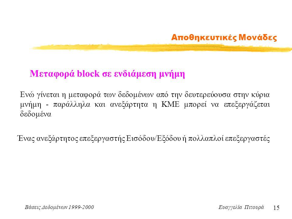Βάσεις Δεδομένων 1999-2000 Ευαγγελία Πιτουρά 15 Αποθηκευτικές Μονάδες Μεταφορά block σε ενδιάμεση μνήμη Ενώ γίνεται η μεταφορά των δεδομένων από την δευτερεύουσα στην κύρια μνήμη - παράλληλα και ανεξάρτητα η ΚΜΕ μπορεί να επεξεργάζεται δεδομένα Ένας ανεξάρτητος επεξεργαστής Εισόδου/Εξόδου ή πολλαπλοί επεξεργαστές