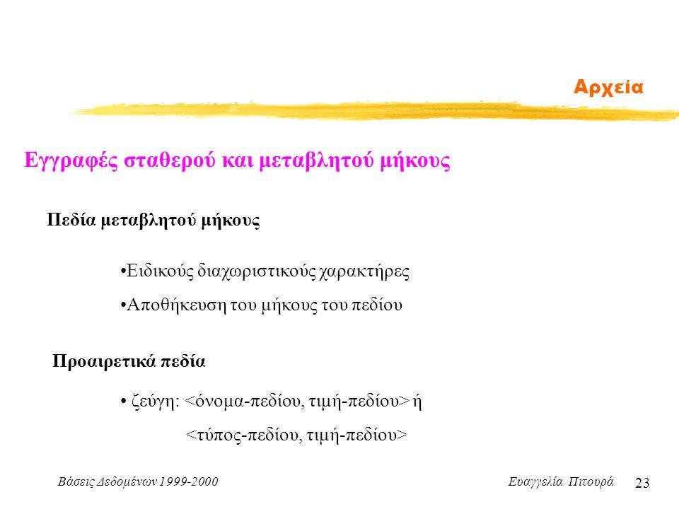 Βάσεις Δεδομένων 1999-2000 Ευαγγελία Πιτουρά 23 Αρχεία Εγγραφές σταθερού και μεταβλητού μήκους Πεδία μεταβλητού μήκους Ειδικούς διαχωριστικούς χαρακτήρες Αποθήκευση του μήκους του πεδίου Προαιρετικά πεδία ζεύγη: ή
