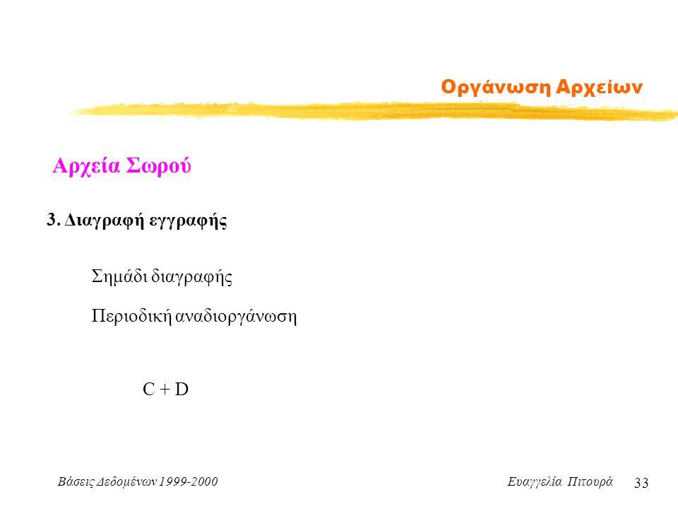 Βάσεις Δεδομένων 1999-2000 Ευαγγελία Πιτουρά 33 Οργάνωση Αρχείων Αρχεία Σωρού 3.