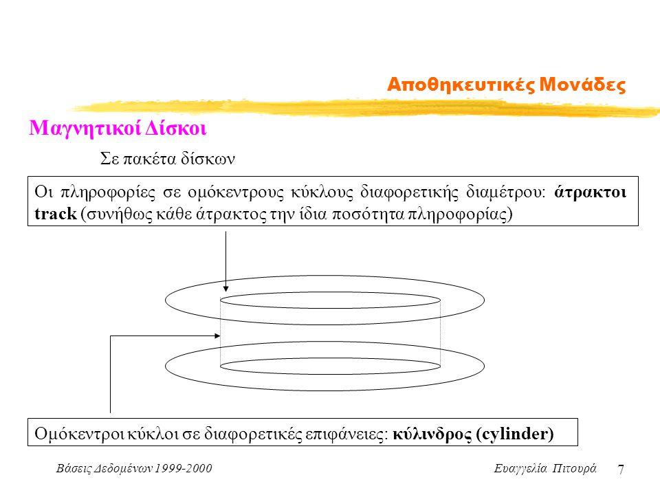 Βάσεις Δεδομένων 1999-2000 Ευαγγελία Πιτουρά 7 Αποθηκευτικές Μονάδες Μαγνητικοί Δίσκοι Σε πακέτα δίσκων Ομόκεντροι κύκλοι σε διαφορετικές επιφάνειες: κύλινδρος (cylinder) Οι πληροφορίες σε ομόκεντρους κύκλους διαφορετικής διαμέτρου: άτρακτοι track (συνήθως κάθε άτρακτος την ίδια ποσότητα πληροφορίας)