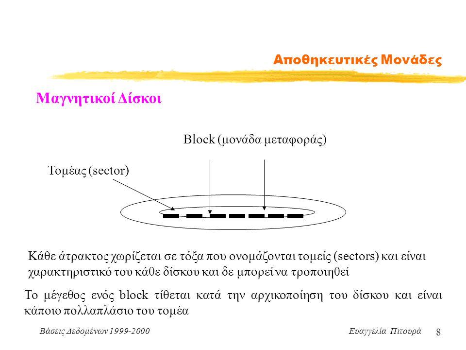 Βάσεις Δεδομένων 1999-2000 Ευαγγελία Πιτουρά 8 Αποθηκευτικές Μονάδες Μαγνητικοί Δίσκοι Block (μονάδα μεταφοράς) Κάθε άτρακτος χωρίζεται σε τόξα που ονομάζονται τομείς (sectors) και είναι χαρακτηριστικό του κάθε δίσκου και δε μπορεί να τροποιηθεί Το μέγεθος ενός block τίθεται κατά την αρχικοποίηση του δίσκου και είναι κάποιο πολλαπλάσιο του τομέα Τομέας (sector)