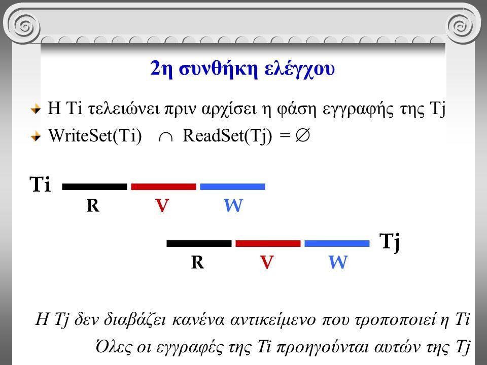 2η συνθήκη ελέγχου Η Τi τελειώνει πριν αρχίσει η φάση εγγραφής της Tj WriteSet(Ti)  ReadSet(Tj) =  Η Τj δεν διαβάζει κανένα αντικείμενο που τροποποιεί η Τi Όλες οι εγγραφές της Ti προηγούνται αυτών της Tj Ti RVW Tj RVW