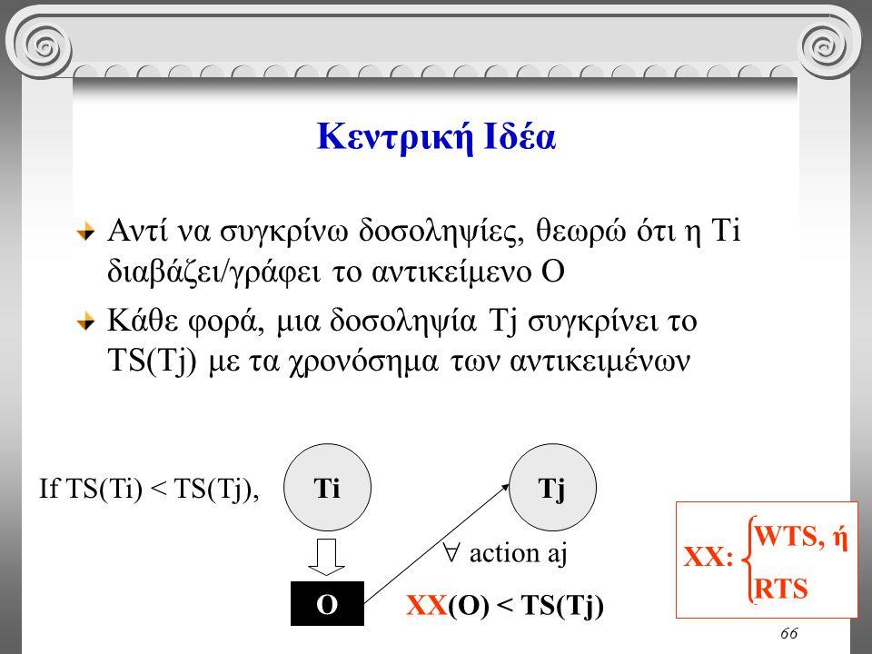 66 Κεντρική Ιδέα Αντί να συγκρίνω δοσοληψίες, θεωρώ ότι η Ti διαβάζει/γράφει το αντικείμενο Ο Κάθε φορά, μια δοσοληψία Tj συγκρίνει το TS(Tj) με τα χρονόσημα των αντικειμένων ΤiΤiΤjΤj  action aj XX(O) < TS(Tj) If TS(Ti) < TS(Tj), Ο XX: WTS, ή RTS