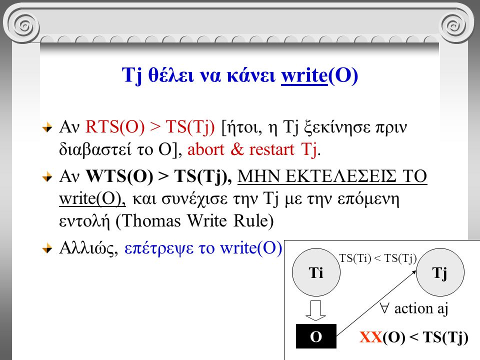 68 Tj θέλει να κάνει write(O) Αν RTS(O) > TS(Tj) [ήτοι, η Τj ξεκίνησε πριν διαβαστεί το O], abort & restart Tj. Αν WTS(O) > TS(Tj), ΜΗΝ ΕΚΤΕΛΕΣΕΙΣ ΤΟ