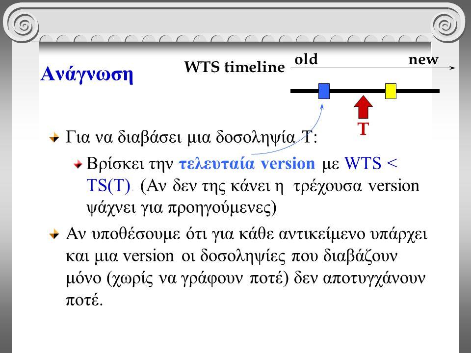 Ανάγνωση Για να διαβάσει μια δοσοληψία Τ: Βρίσκει την τελευταία version με WTS < TS(T). (Αν δεν της κάνει η τρέχουσα version ψάχνει για προηγούμενες)