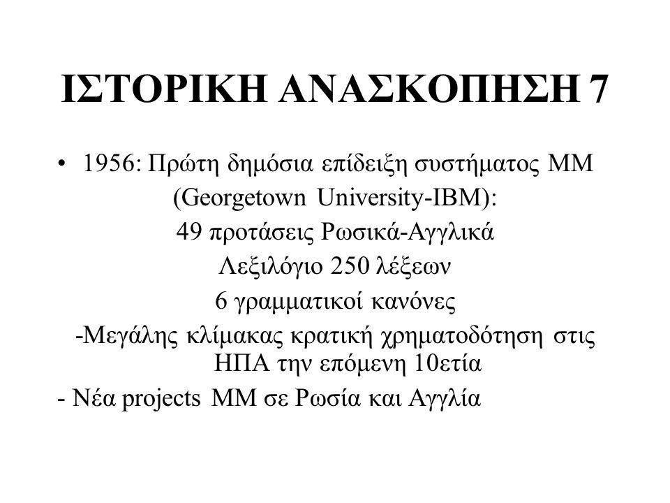 ΙΣΤΟΡΙΚΗ ΑΝΑΣΚΟΠΗΣΗ 7 1956: Πρώτη δημόσια επίδειξη συστήματος ΜΜ (Georgetown University-ΙΒM): 49 προτάσεις Ρωσικά-Αγγλικά Λεξιλόγιο 250 λέξεων 6 γραμμ