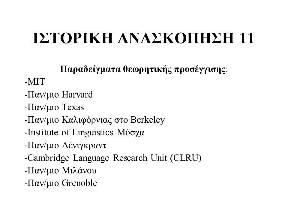 ΙΣΤΟΡΙΚΗ ΑΝΑΣΚΟΠΗΣΗ 11 Παραδείγματα θεωρητικής προσέγγισης: -MIT -Παν/μιο Harvard -Παν/μιο Texas -Παν/μιο Καλιφόρνιας στο Berkeley -Institute of Lingu