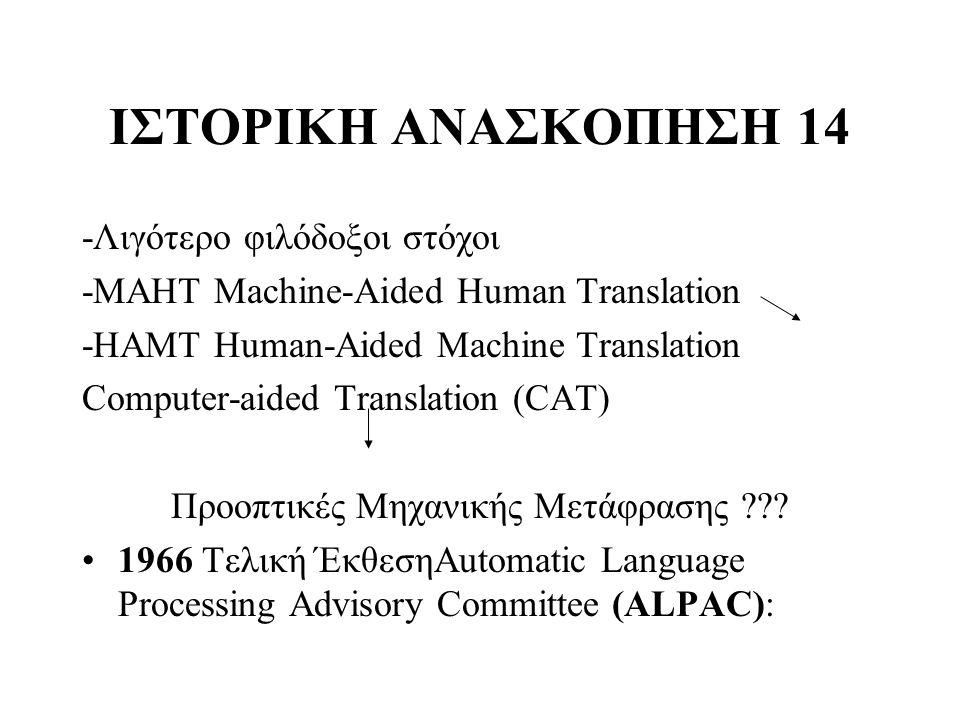 ΙΣΤΟΡΙΚΗ ΑΝΑΣΚΟΠΗΣΗ 14 -Λιγότερο φιλόδοξοι στόχοι -ΜΑHΤ Machine-Aided Human Translation -HAMT Human-Aided Machine Translation Computer-aided Translati