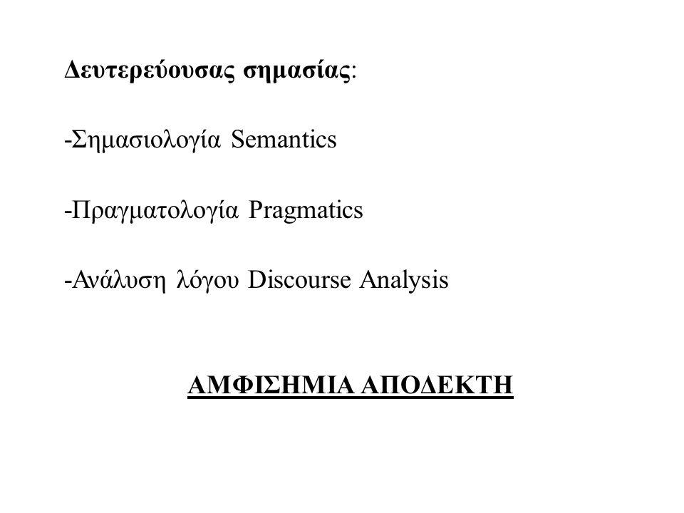 ΦΩΝΗΤΙΚΗ/ΦΩΝΟΛΟΓΙΑ μελέτη φθόγγων ΜΟΡΦΟΛΟΓΙΑ μελέτη μορφημάτων (ελάχιστων μονάδων λεξικής ή γραμματικής σημασίας δυσ-προ-φερ-το-ς ΣΥΝΤΑΞΗ μελέτη συνταγμάτων (συντακτικών δομών των λέξεων) ΣΗΜΑΣΙΟΛΟΓΙΑμελέτη σημασιών ΠΡΑΓΜΑΤΟΛΟΓΙΑ μελέτη τρόπων χρήσης γλώσσας για την επίτευξη στόχων ΑΝΑΛΥΣΗ ΛΟΓΟΥ μελέτη γλωσσικών μονάδων μεγαλύτερων των απλών εκφωνημάτων