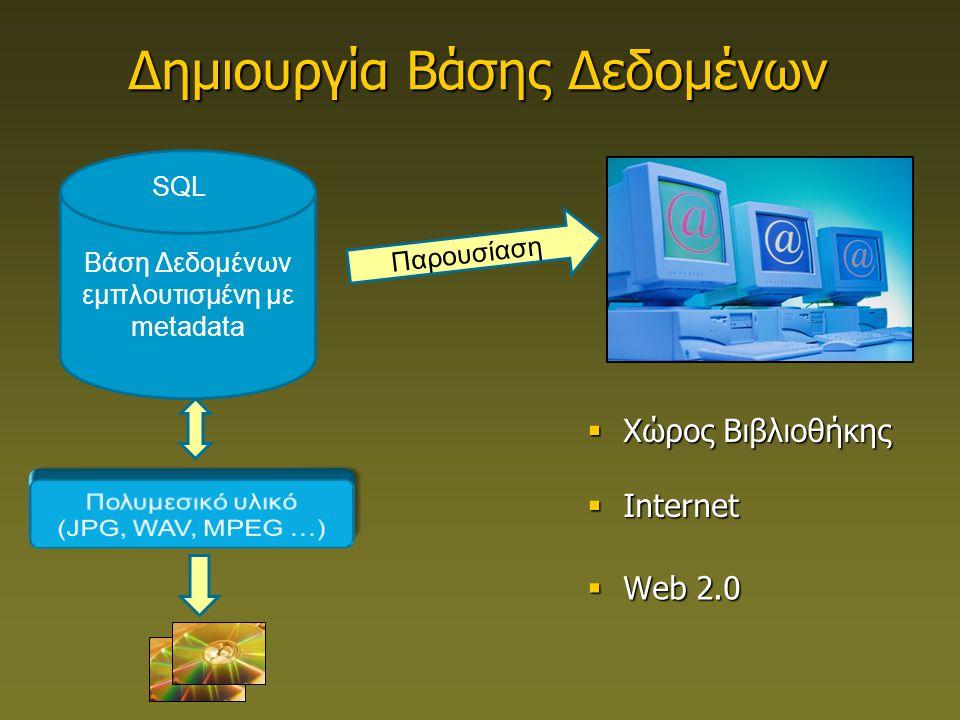 Βάση Δεδομένων εμπλουτισμένη με metadata SQL Παρουσίαση Δημιουργία Βάσης Δεδομένων  Χώρος Βιβλιοθήκης  Internet  Web 2.0