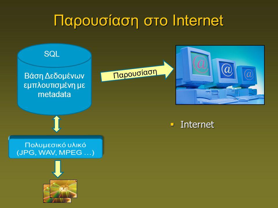 Βάση Δεδομένων εμπλουτισμένη με metadata SQL Παρουσίαση Παρουσίαση στο Internet  Internet