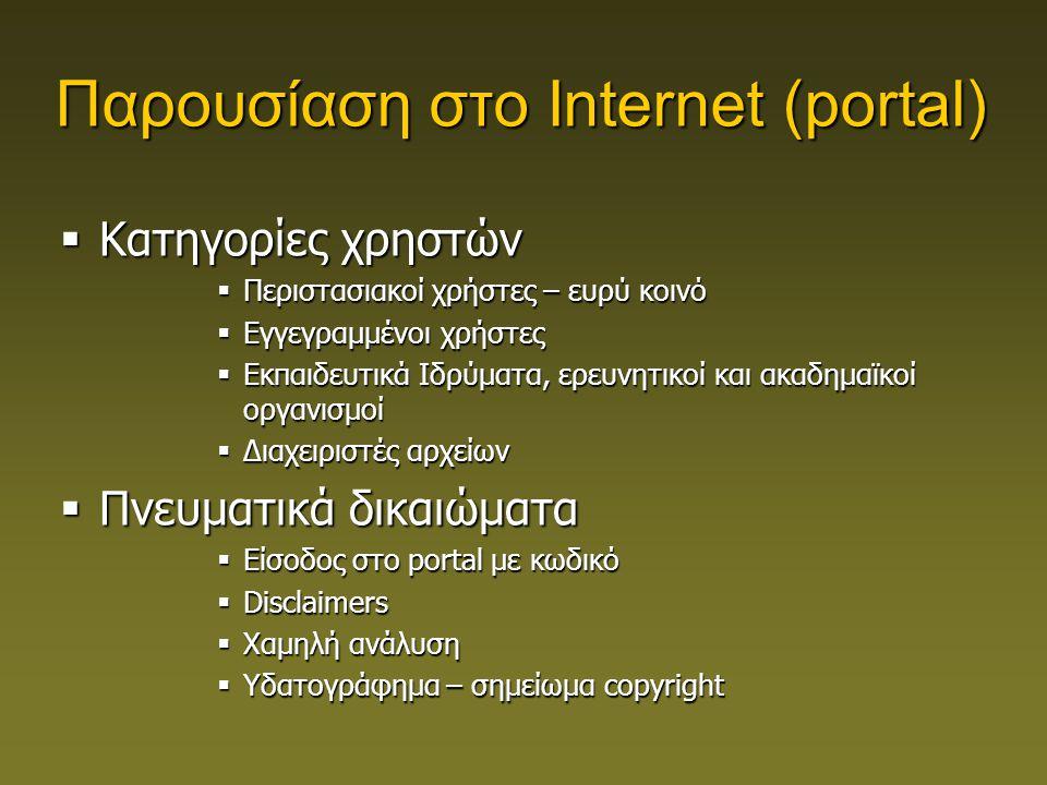Παρουσίαση στο Internet (portal)  Κατηγορίες χρηστών  Περιστασιακοί χρήστες – ευρύ κοινό  Εγγεγραμμένοι χρήστες  Εκπαιδευτικά Ιδρύματα, ερευνητικοί και ακαδημαϊκοί οργανισμοί  Διαχειριστές αρχείων  Πνευματικά δικαιώματα  Είσοδος στο portal με κωδικό  Disclaimers  Χαμηλή ανάλυση  Υδατογράφημα – σημείωμα copyright