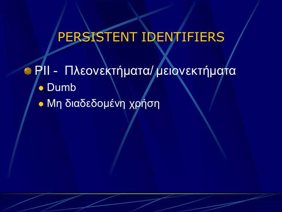 PERSISTENT IDENTIFIERS PII - Πλεονεκτήματα/ μειονεκτήματα Dumb Μη διαδεδομένη χρήση