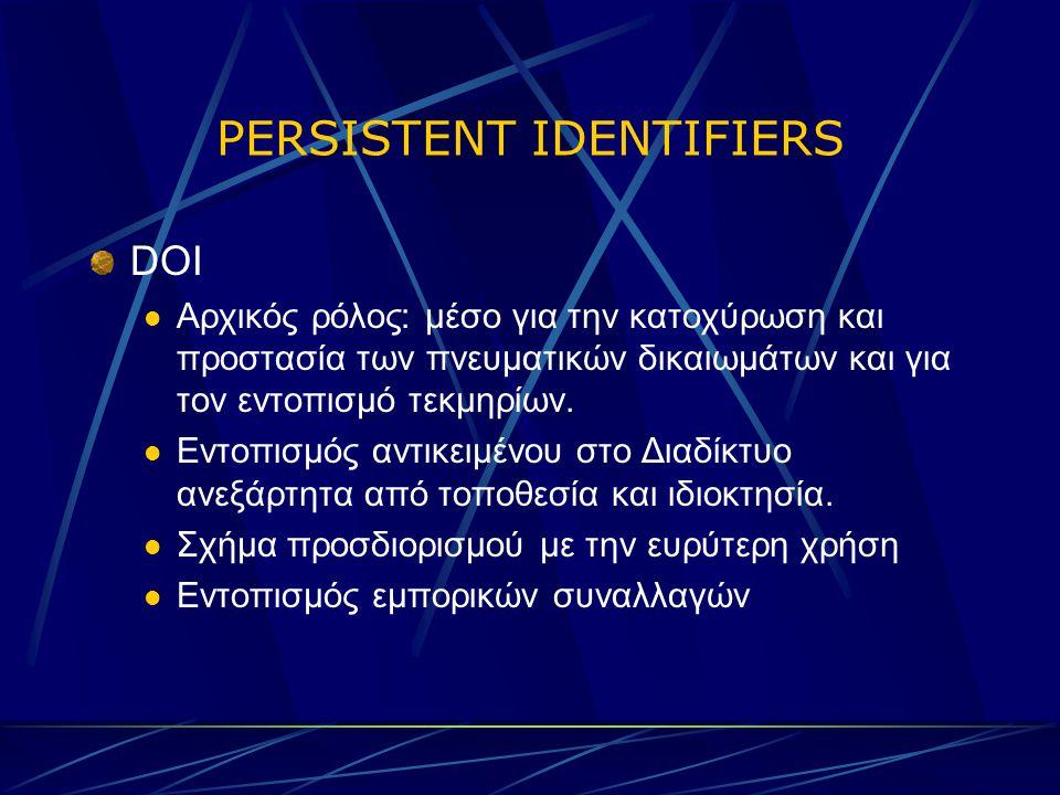 PERSISTENT IDENTIFIERS DOI Αρχικός ρόλος: μέσο για την κατοχύρωση και προστασία των πνευματικών δικαιωμάτων και για τον εντοπισμό τεκμηρίων.