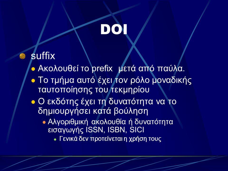 DOI suffix Ακολουθεί το prefix μετά από παύλα.