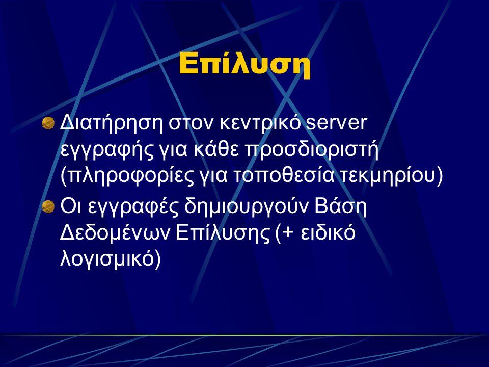Επίλυση Διατήρηση στον κεντρικό server εγγραφής για κάθε προσδιοριστή (πληροφορίες για τοποθεσία τεκμηρίου) Οι εγγραφές δημιουργούν Βάση Δεδομένων Επίλυσης (+ ειδικό λογισμικό)