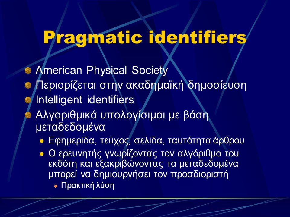 Pragmatic identifiers American Physical Society Περιορίζεται στην ακαδημαϊκή δημοσίευση Intelligent identifiers Αλγοριθμικά υπολογίσιμοι με βάση μεταδεδομένα Εφημερίδα, τεύχος, σελίδα, ταυτότητα άρθρου Ο ερευνητής γνωρίζοντας τον αλγόριθμο του εκδότη και εξακριβώνοντας τα μεταδεδομένα μπορεί να δημιουργήσει τον προσδιοριστή Πρακτική λύση