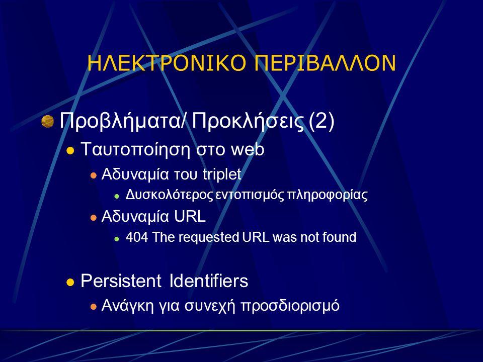 ΗΛΕΚΤΡΟΝΙΚΟ ΠΕΡΙΒΑΛΛΟΝ Προβλήματα/ Προκλήσεις (2) Ταυτοποίηση στο web Αδυναμία του triplet Δυσκολότερος εντοπισμός πληροφορίας Αδυναμία URL 404 The requested URL was not found Persistent Identifiers Ανάγκη για συνεχή προσδιορισμό