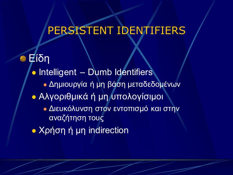 PERSISTENT IDENTIFIERS Είδη Intelligent – Dumb Identifiers Δημιουργία ή μη βάση μεταδεδομένων Αλγοριθμικά ή μη υπολογίσιμοι Διευκόλυνση στον εντοπισμό και στην αναζήτηση τους Χρήση ή μη indirection