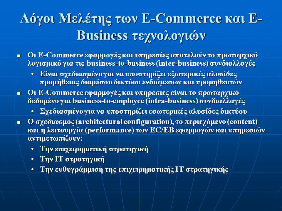Λόγοι Μελέτης των E-Commerce και E- Business τεχνολογιών Οι E-Commerce εφαρμογές και υπηρεσίες αποτελούν το πρωταρχικό λογισμικό για τις business-to-business (inter-business) συνδιαλλαγές Οι E-Commerce εφαρμογές και υπηρεσίες αποτελούν το πρωταρχικό λογισμικό για τις business-to-business (inter-business) συνδιαλλαγές Είναι σχεδιασμένο για να υποστηρίζει εξωτερικές αλυσίδες προμήθειας διαμέσου δικτύου ενδιάμεσων και προμηθευτώνΕίναι σχεδιασμένο για να υποστηρίζει εξωτερικές αλυσίδες προμήθειας διαμέσου δικτύου ενδιάμεσων και προμηθευτών Οι E-Commerce εφαρμογές και υπηρεσίες είναι το πρωταρχικό δεδομένο για business-to-employee (intra-business) συνδιαλλαγές Οι E-Commerce εφαρμογές και υπηρεσίες είναι το πρωταρχικό δεδομένο για business-to-employee (intra-business) συνδιαλλαγές Σχεδιασμένο για να υποστηρίζει εσωτερικές αλυσίδες δικτύουΣχεδιασμένο για να υποστηρίζει εσωτερικές αλυσίδες δικτύου Ο σχεδιασμός (architectural configuration), το περιεχόμενο (content) και η λειτουργία (performance) των EC/EB εφαρμογών και υπηρεσιών αντιμετωπίζουν: Ο σχεδιασμός (architectural configuration), το περιεχόμενο (content) και η λειτουργία (performance) των EC/EB εφαρμογών και υπηρεσιών αντιμετωπίζουν: Την επιχειρηματική στρατηγικήΤην επιχειρηματική στρατηγική Την IT στρατηγικήΤην IT στρατηγική Την ευθυγράμμιση της επιχειρηματικής ΙΤ στρατηγικήςΤην ευθυγράμμιση της επιχειρηματικής ΙΤ στρατηγικής