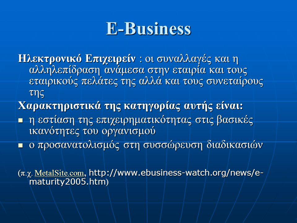 E-Business Ηλεκτρονικό Επιχειρείν : οι συναλλαγές και η αλληλεπίδραση ανάμεσα στην εταιρία και τους εταιρικούς πελάτες της αλλά και τους συνεταίρους της Χαρακτηριστικά της κατηγορίας αυτής είναι: η εστίαση της επιχειρηματικότητας στις βασικές ικανότητες του οργανισμού η εστίαση της επιχειρηματικότητας στις βασικές ικανότητες του οργανισμού ο προσανατολισμός στη συσσώρευση διαδικασιών ο προσανατολισμός στη συσσώρευση διαδικασιών (π.χ.