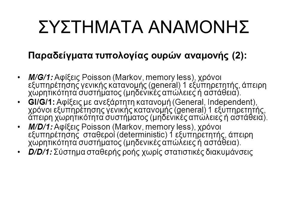 ΣΥΣΤΗΜΑΤΑ ΑΝΑΜΟΝΗΣ Παραδείγματα τυπολογίας ουρών αναμονής (2): M/G/1: Αφίξεις Poisson (Markov, memory less), χρόνοι εξυπηρέτησης γενικής κατανομής (general) 1 εξυπηρετητής, άπειρη χωρητικότητα συστήματος (μηδενικές απώλειες ή αστάθεια).