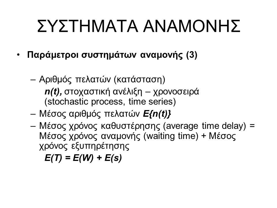 ΣΥΣΤΗΜΑΤΑ ΑΝΑΜΟΝΗΣ Παράμετροι συστημάτων αναμονής (3) –Αριθμός πελατών (κατάσταση) n(t), στοχαστική ανέλιξη – χρονοσειρά (stochastic process, time series) –Μέσος αριθμός πελατών Ε{n(t)} –Μέσος χρόνος καθυστέρησης (average time delay) = Μέσος χρόνος αναμονής (waiting time) + Μέσος χρόνος εξυπηρέτησης E(T) = E(W) + E(s)