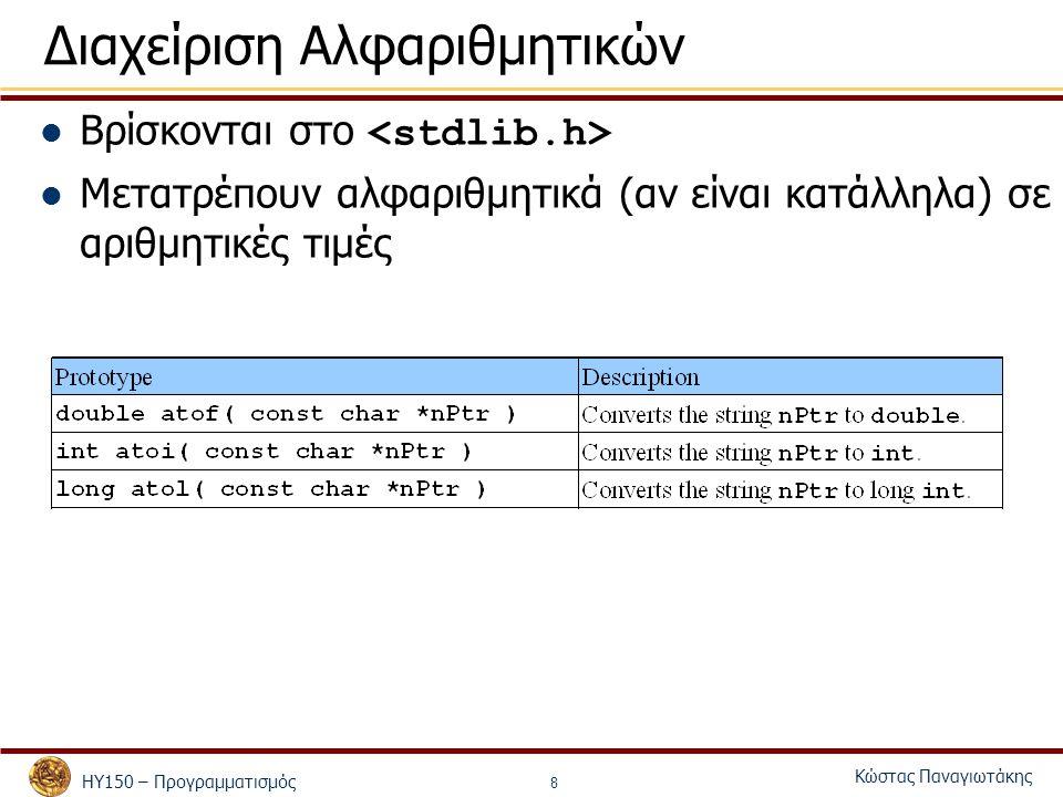 ΗΥ150 – Προγραμματισμός Κώστας Παναγιωτάκης 9 Συναρτήσεις Ανάγνωσης και Εκτύπωσης Βρίσκονται στο int sprintf(char *s, const char *format, …)Ισοδύναμη με την printf μόνο που η έξοδος είναι στο string s και όχι στην οθόνη int sscanf(char *s, const char *format, …)Ισοδύναμη με την scanf μόνο που η είσοδος είναι από το string s και όχι από το πληκτρολόγιο char s[100]; char f[] = 1.45 2.2 0.12 ; float t1,t2,t3; sprintf(s, %s ,f); sscanf(s, %f %f %f ,&t1,&t2,&t3); printf( s = %s\nt1 = %f t2 = %f t3 = %f\n ,s,t1,t2,t3);