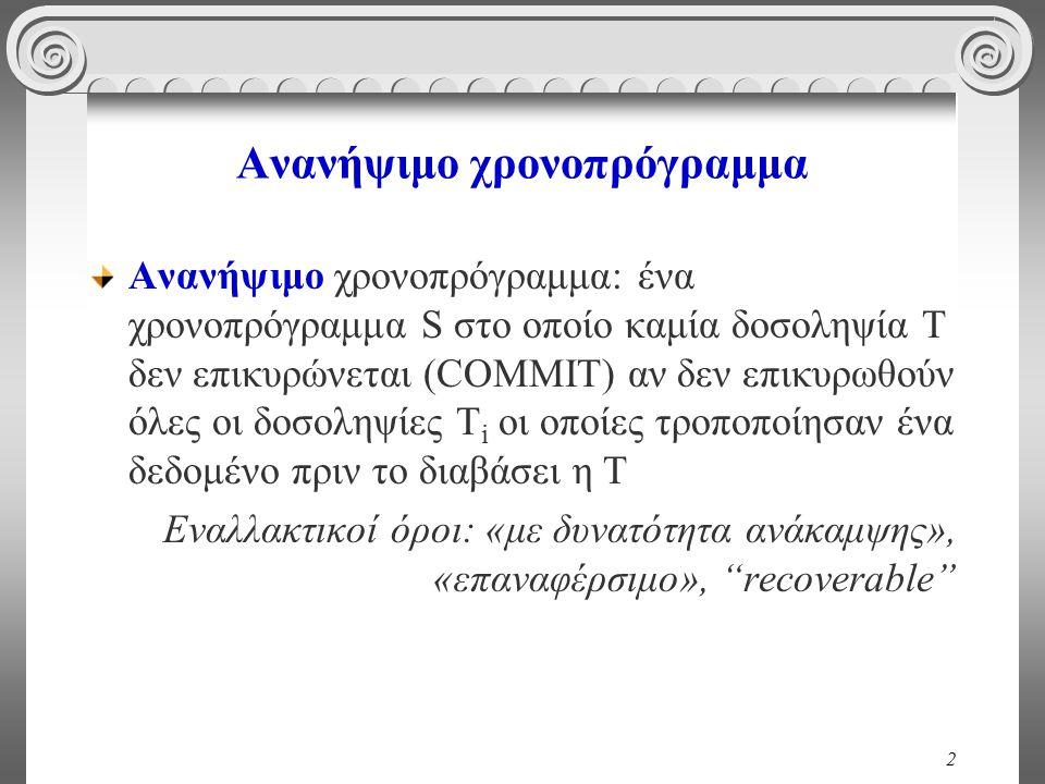 2 Ανανήψιμο χρονοπρόγραμμα Ανανήψιμο χρονοπρόγραμμα: ένα χρονοπρόγραμμα S στο οποίο καμία δοσοληψία Τ δεν επικυρώνεται (COMMIT) αν δεν επικυρωθούν όλες οι δοσοληψίες T i οι οποίες τροποποίησαν ένα δεδομένο πριν το διαβάσει η Τ Εναλλακτικοί όροι: «με δυνατότητα ανάκαμψης», «επαναφέρσιμο», recoverable