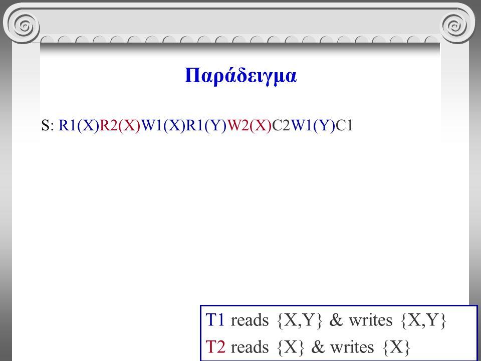 3 Παράδειγμα S: R1(X)R2(X)W1(X)R1(Y)W2(X)C2W1(Y)C1 T1 reads {X,Y} & writes {X,Y} T2 reads {X} & writes {X}