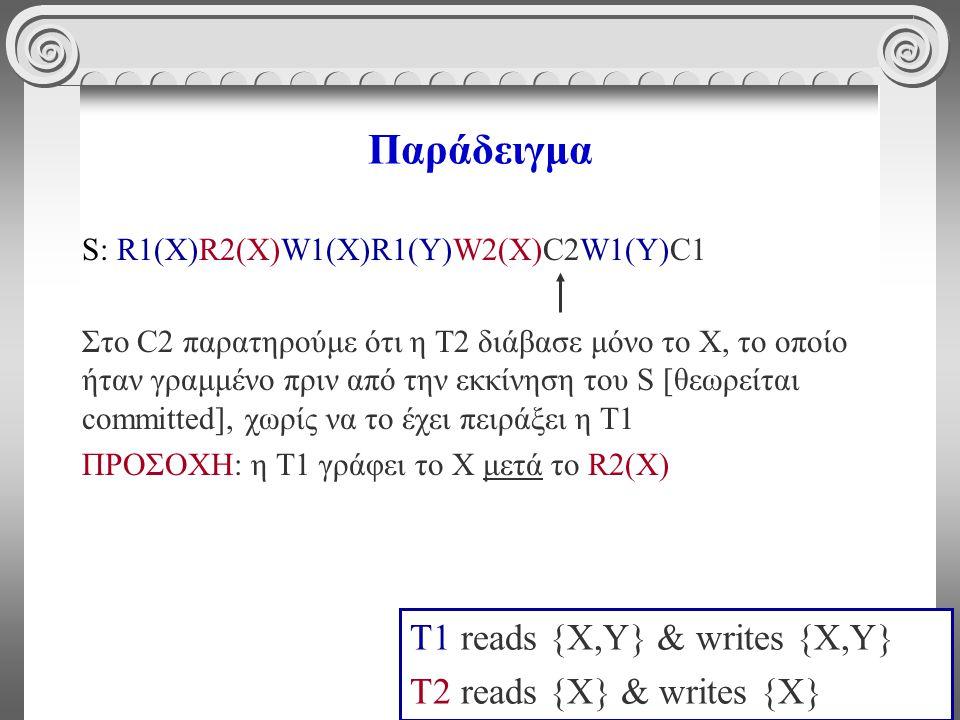4 Παράδειγμα S: R1(X)R2(X)W1(X)R1(Y)W2(X)C2W1(Y)C1 Στο C2 παρατηρούμε ότι η Τ2 διάβασε μόνο το X, το οποίο ήταν γραμμένο πριν από την εκκίνηση του S [θεωρείται committed], χωρίς να το έχει πειράξει η Τ1 ΠΡΟΣΟΧΗ: η Τ1 γράφει το Χ μετά το R2(X) T1 reads {X,Y} & writes {X,Y} T2 reads {X} & writes {X}