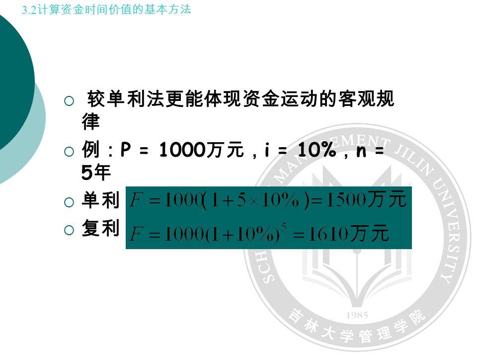  较单利法更能体现资金运动的客观规 律  例: P = 1000 万元, i = 10% , n = 5 年  单利:  复利: 3.2 计算资金时间价值的基本方法