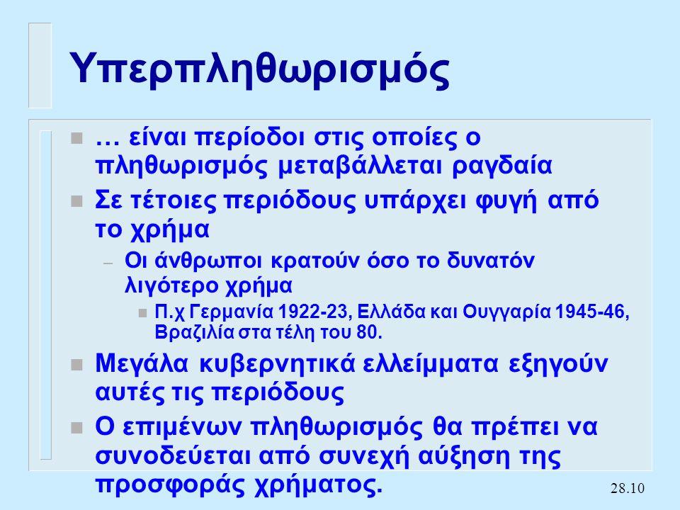 28.10 Υπερπληθωρισμός n … είναι περίοδοι στις οποίες ο πληθωρισμός μεταβάλλεται ραγδαία n Σε τέτοιες περιόδους υπάρχει φυγή από το χρήμα – Οι άνθρωποι κρατούν όσο το δυνατόν λιγότερο χρήμα n Π.χ Γερμανία 1922-23, Ελλάδα και Ουγγαρία 1945-46, Βραζιλία στα τέλη του 80.