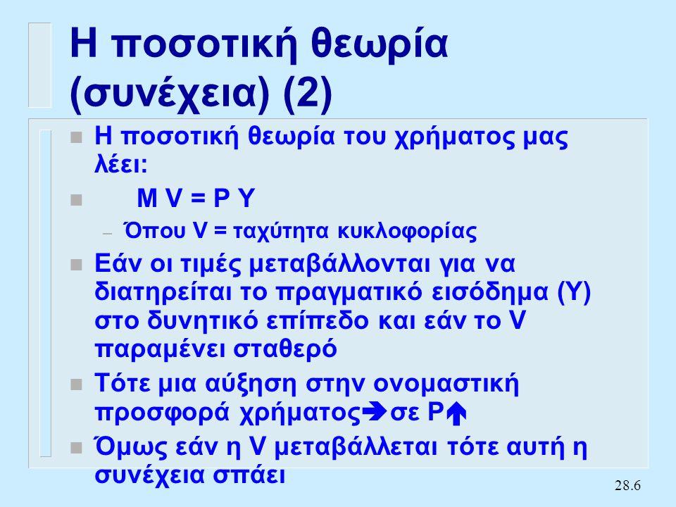 28.6 Η ποσοτική θεωρία (συνέχεια) (2) n Η ποσοτική θεωρία του χρήματος μας λέει: n M V = P Y – Όπου V = ταχύτητα κυκλοφορίας n Εάν οι τιμές μεταβάλλονται για να διατηρείται το πραγματικό εισόδημα (Y) στο δυνητικό επίπεδο και εάν το V παραμένει σταθερό n Τότε μια αύξηση στην ονομαστική προσφορά χρήματος  σε Ρ  n Όμως εάν η V μεταβάλλεται τότε αυτή η συνέχεια σπάει