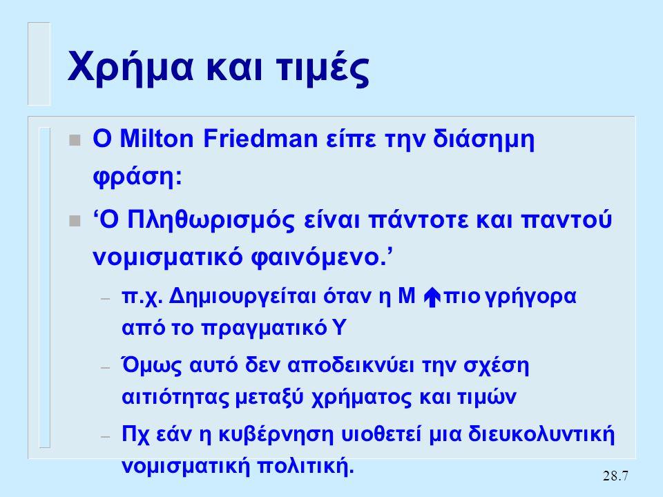 28.7 Χρήμα και τιμές n Ο Milton Friedman είπε την διάσημη φράση: n 'Ο Πληθωρισμός είναι πάντοτε και παντού νομισματικό φαινόμενο.' – π.χ.